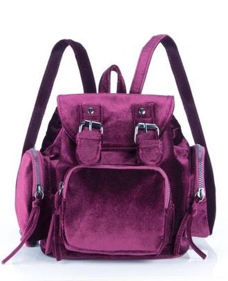 bag velvet oxblood hipster backpack