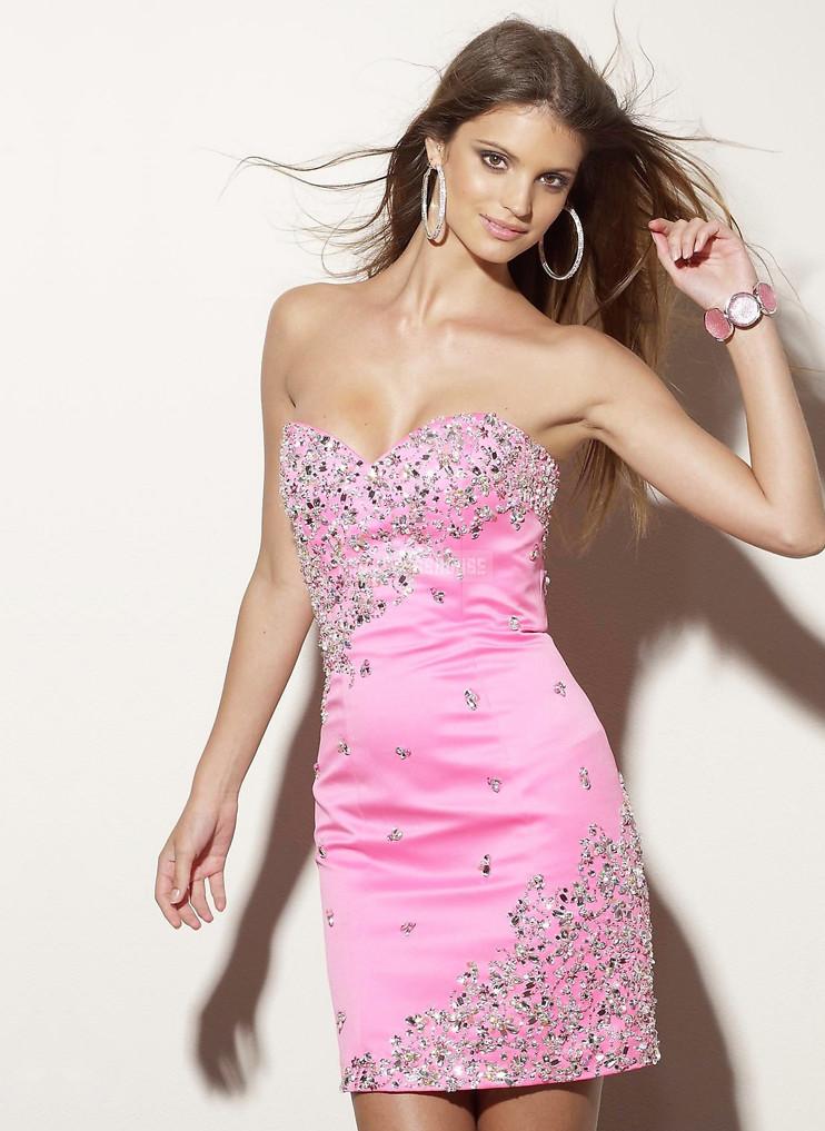 Pink Lace-up Sleeveless Satin Sheath Beading Cocktail Dress - Promdresshouse.com