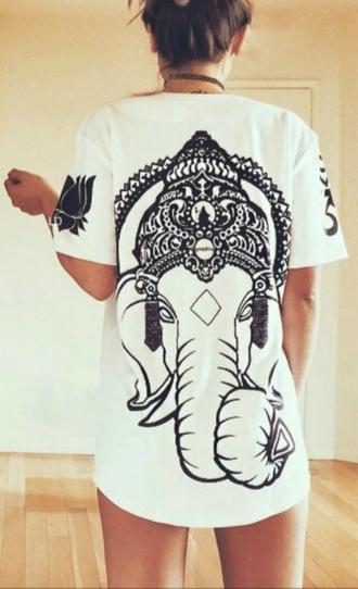 shirt t-shirt back print ganesha elephant