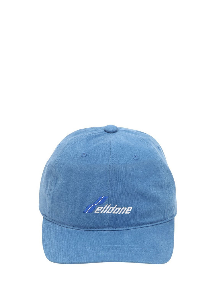 WE11 DONE Logo Embroidered Cotton Baseball Hat in blue