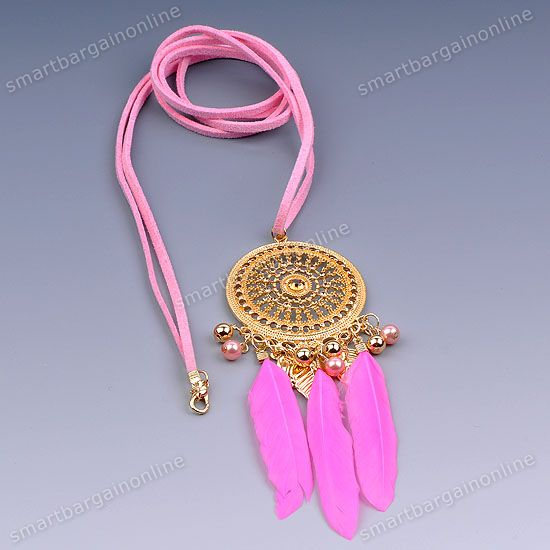 1x Ethnic Forever 21 Dream Catcher Pink Feather Round Dangle Pendant Necklace | eBay
