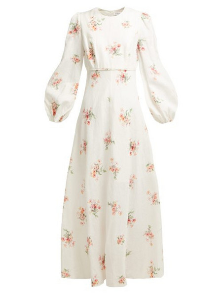 2f974fb4cb2 Zimmermann - Corsage Orchid Print Linen Blend Midi Dress - Womens - Pink  Print.  695