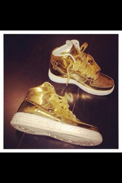 shoes nike air force 1 nike nike air nike sneakers nike running shoes gold nike free run trainers running sportswear athletic