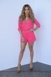 blouse,pink,jennifer lopez,jumper,cute,tank top,romper,neon pink,jumpsuit,pink jumpsuit,summer outfits,summer,dress,fuchsia,neon jumpsuit