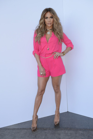 jumpsuit jumpsuits blouse pink jumper cute jennifer lopez dress