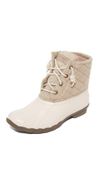 Sperry Saltwater Quilted Wool Booties - Oyster/Oatmeal