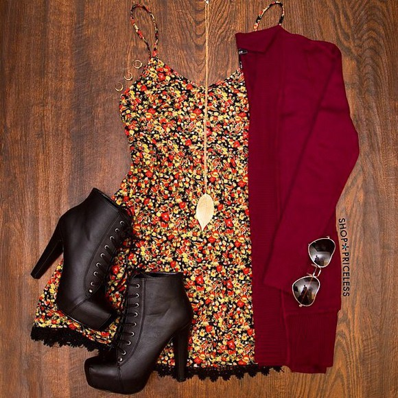 shoes cardigan red cardigan and floral dress