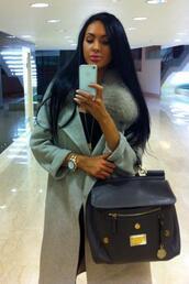 coat,blue,gray coat,fur,chanel style jacket,bag,jacket,grey,cute