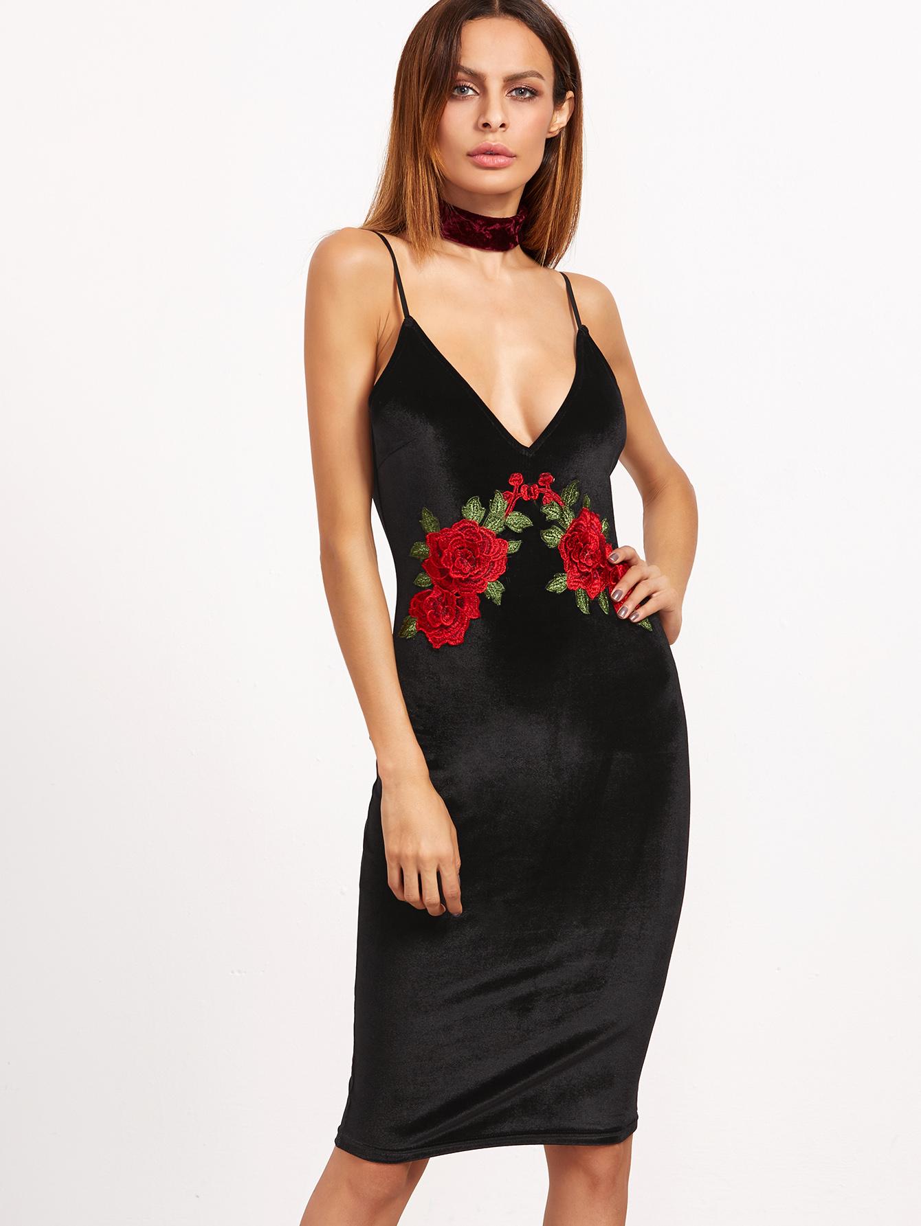 88cdeea812efa Black Dress With Rose Embroidery – Little Black Dress | Black Lace ...