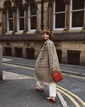 coat,checkered,long coat,handbag,pants,sandals,mid heel sandals