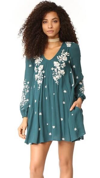 dress mini dress mini embroidered sweet blue