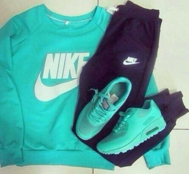 shoes turquoise track pants sweatshirt top