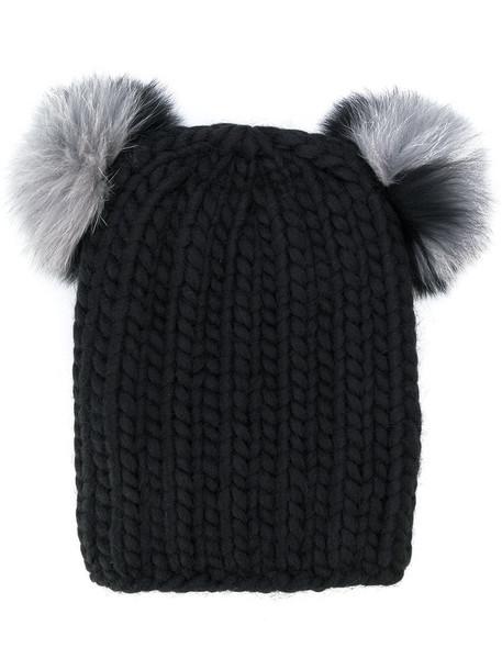 Eugenia Kim fur fox women beanie black wool hat