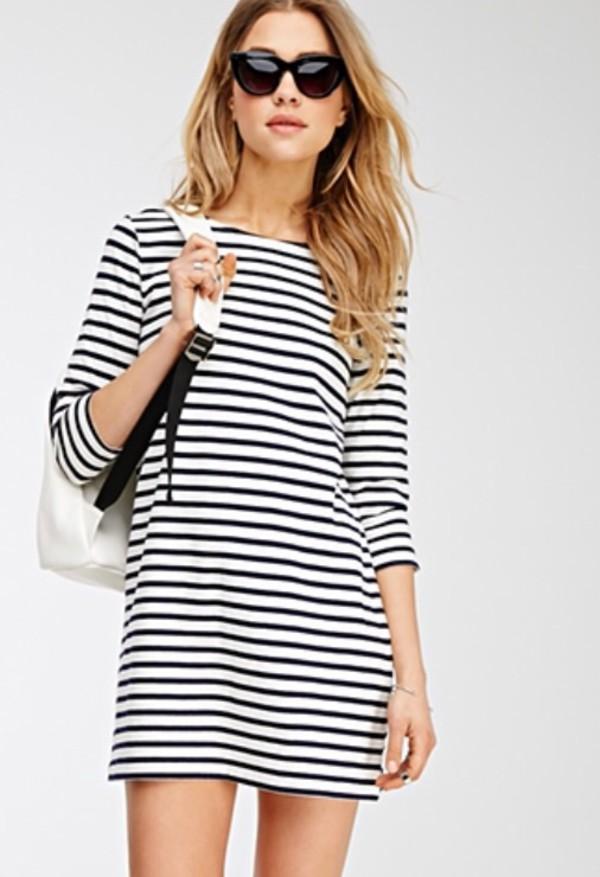 Dress: stripes, navy, white, forever 21, striped dress, white ...