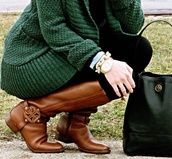 shoes,riding boots,riding,boots,brown,leather,cardi,cardigan,green,watch,purse