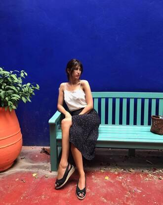 skirt rouje midi skirt black skirt slit skirt sandals wedges wedge sandals top white top jeanne damas