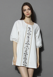 top,lovely prairie dolly white tunic,chicwish,chicwish.com,white tunic,dolly tunic,boho tunic