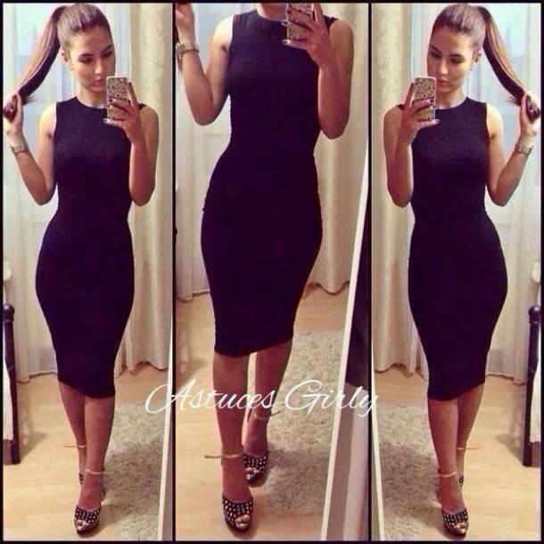 Платье в обтяжку ниже колена с чем носить 154