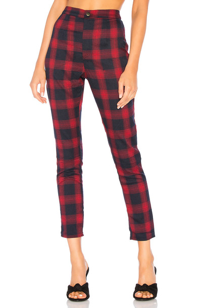 by the way. Darla Plaid Pant in red