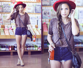 shorts red hat cute dress cute outfits summer summer dress cowboy boots boots hat side bag leopard print