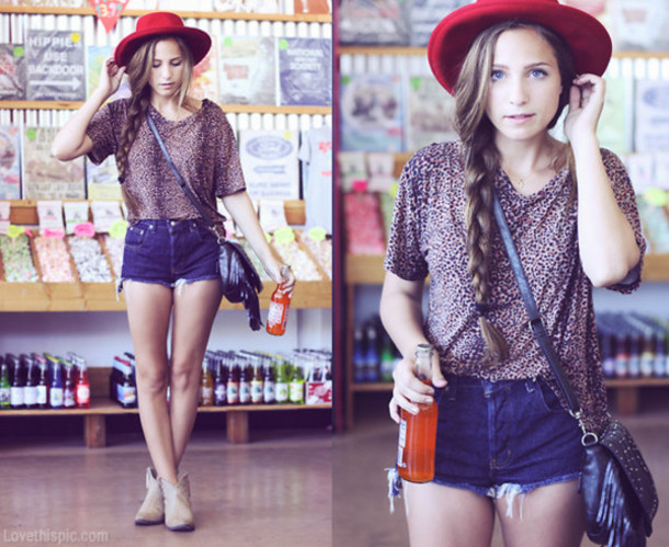 b946efa35d9 shorts red hat cute dress cute outfits summer summer dress cowboy boots  boots hat side bag