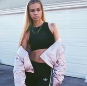 pants,slim jawn,cassie,seamstress,adidas,adidas joggers,bomber jacket,black,white,pink,vintage,blondie,gold necklace,los angeles,la,streetstyle,jacket,pink bomber jacket