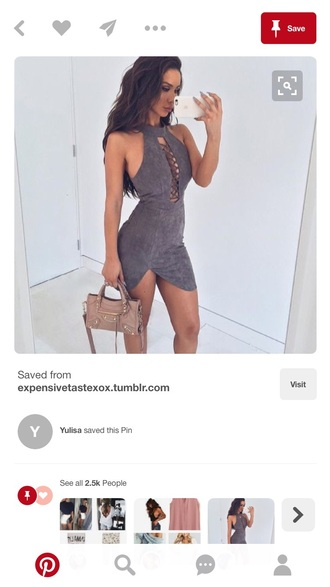 dress suede grey dress grey cut-out bodycon dress bodycon