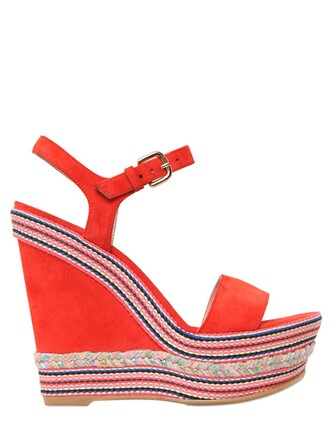 sandals wedge sandals suede orange shoes