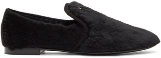 fur loafers black shoes