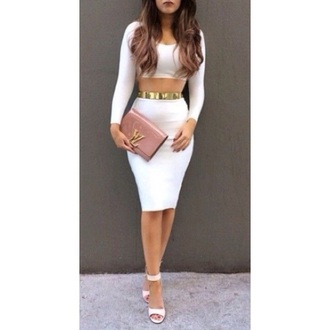 bag pink clutch gold two-piece white shoes open toes white dress open toe high heels nail polish dress shoes belt jumpsuit