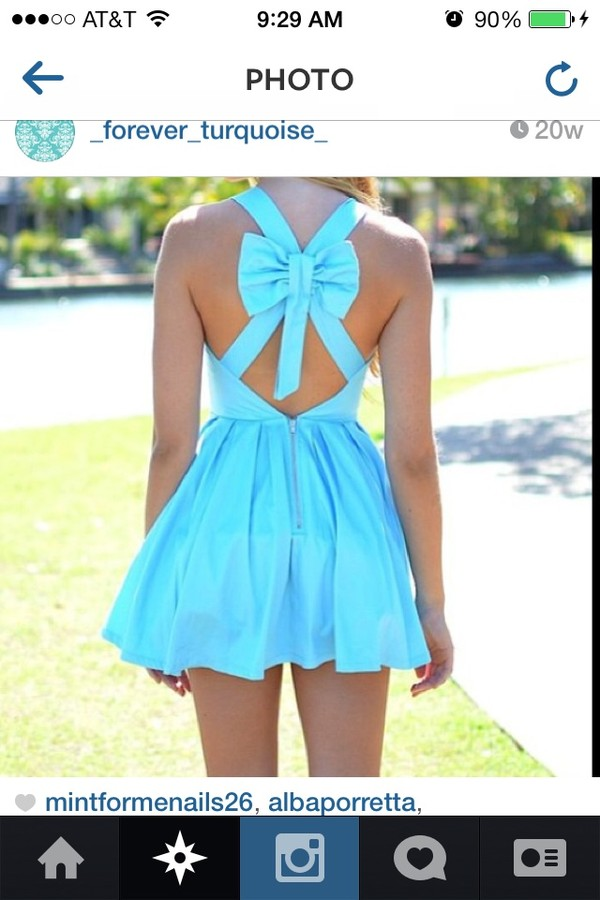 dress turquoise dress turquoise bow tie dress short dress pretty criss cross Bow Back Dress