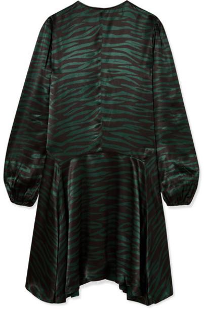 GANNI - Cameron Printed Satin Dress - Black