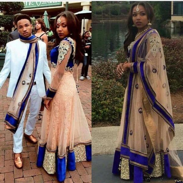 Dress Blue Dress Jewelry India Love Bollywood Bollywood Style Prom Dress Gold Sleeveless