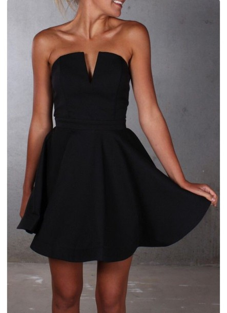 Dress Black Dress Vneck Dress Strapless Fancy Black V Cut Neck