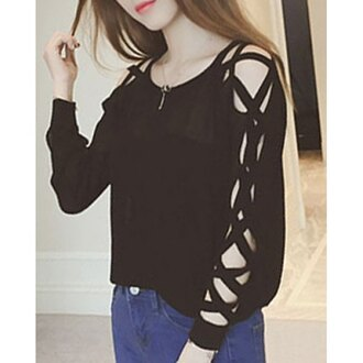 sweater fashion black long sleeves criss cross trendy streetwear