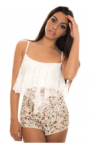 Diablo Lace Crop Top In White -  from The Fashion Bible  UK