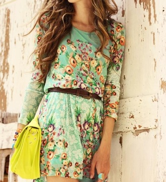 dress floral beautiful long sleeve dress belt dress design mint dress blue dress green dress cute dress cute flowers classy