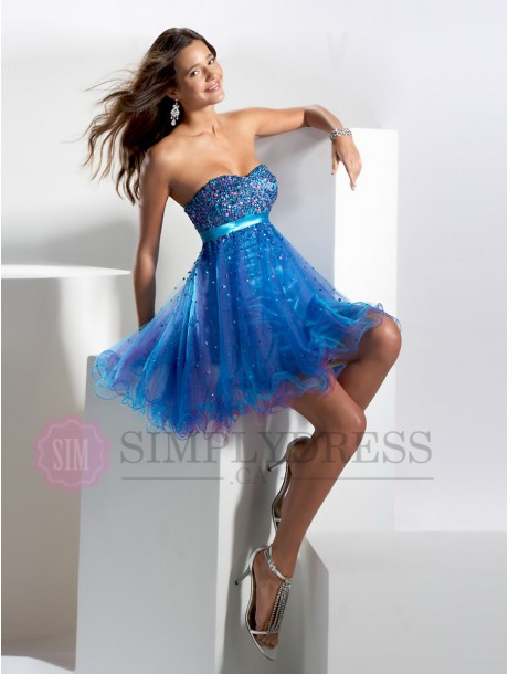 A-Line/Princess Tulle Strapless Sleeveless Sweet 16 Gowns - simplydress.ca