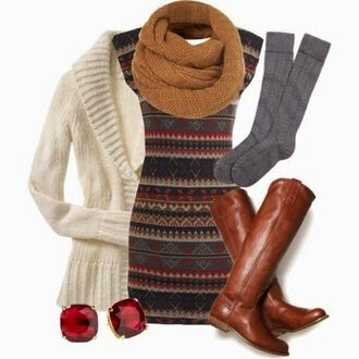 dress earthy pretty perfect bodycon boots scarf socks sweater earings yellow tribal pattern thanksgiving shoes underwear