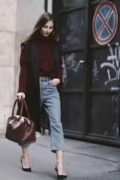 venka vision,blogger,jacket,bag,jeans,knitted sweater,fall outfits,red cable knit sweater,red sweater,cable knit,vest,black vest,mom jeans,blue jeans,winter sweater,red bag