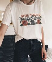 shirt,guns and roses,band merch,guns n roses logo,graphic tee,band t-shirt,vintage,90s style,fashion
