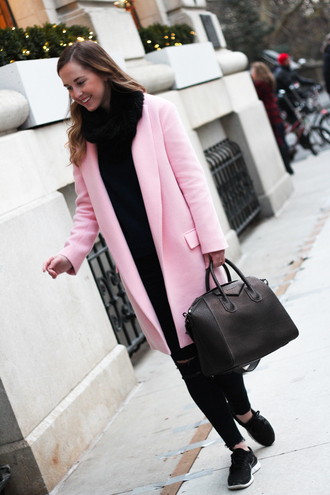 side smile style blogger pink coat sneakers coat shoes bag scarf