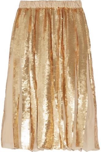 skirt pleated silk gold