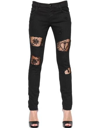 jeans denim lace cotton black