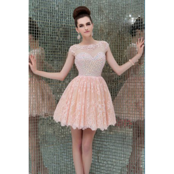 pink dress peach dress vintage homecoming dress a line short cocktail evening dresses tulle scoop cocktail dresses