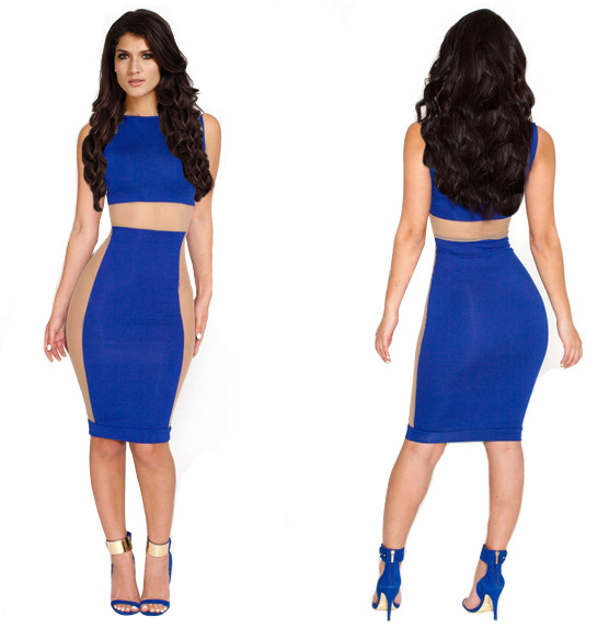 Fashion hot blue and white two piece sexy dress