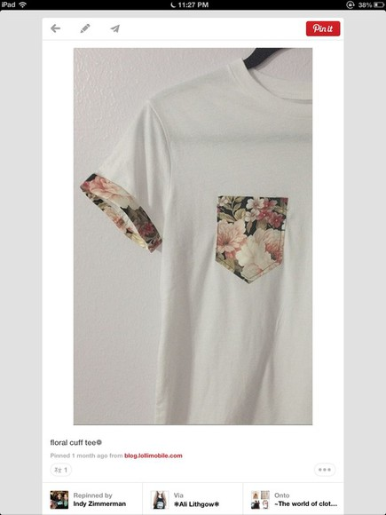 floral pocket t shirt roses