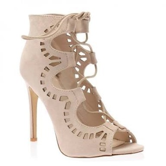 shoes lace up nude heels cut-out