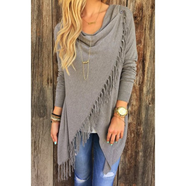e9d57663202 fringes grey grey cardigan fall outfits casual boho boho chic bohemian  denim fall colors trendy stylish