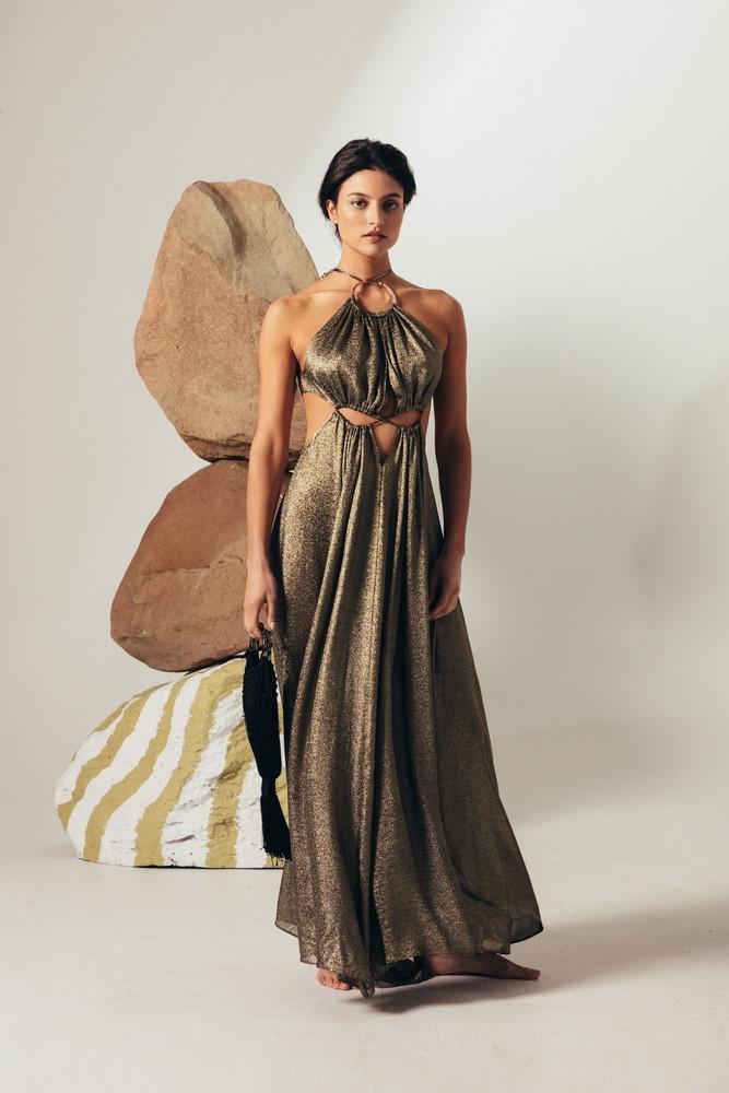 Cult Gaia Aphrodite Grecian Gown - Gold Metallic (PREORDER)                                                             $ 798.00 USD